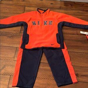 NWT Nike 2 PC Orange Navy Track Suit Fleece Top 3T